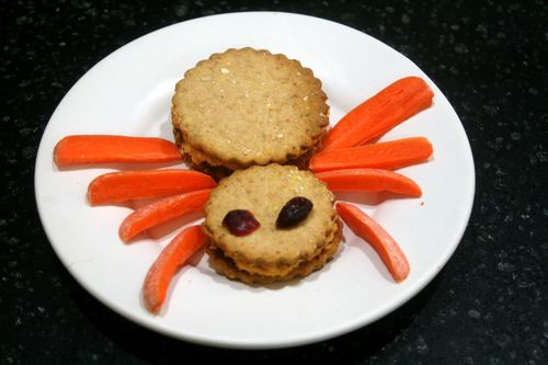 Spider Crackers with Sweet Potato Hummus