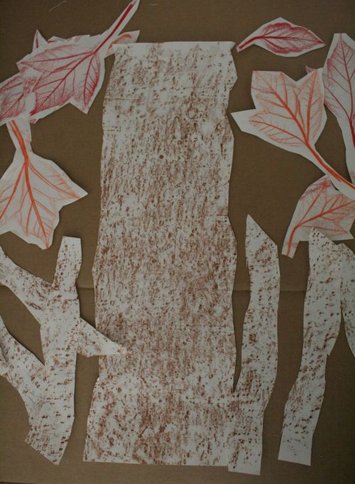 Crayon Rubbing Autumn Tree