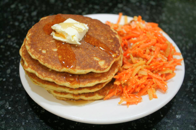 Cornmeal Pancakes and Carrot Apple Salad with Feta Dressing - Big Red Barn - Off the Shelf