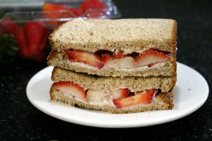 Red Ripe Strawberry Sandwiches with Whipped Cream Cheese