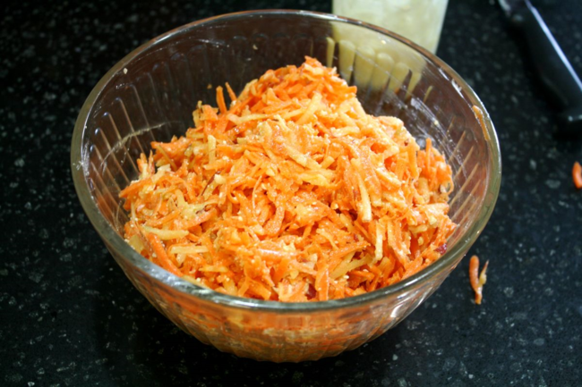 Carrot Apple Salad with Feta Dressing - Big Red Barn - Off the Shelf