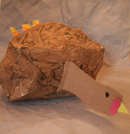 Stuffed and Painted Brown Paper Turkey Craft - It's Thanksgiving - Off the Shelf