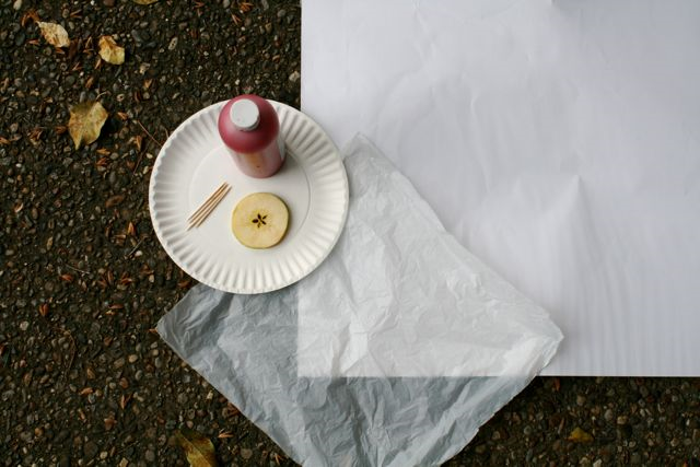 Apple Parachute Action Painting - How to Make an Apple Pie and See the World - Off the Shelf