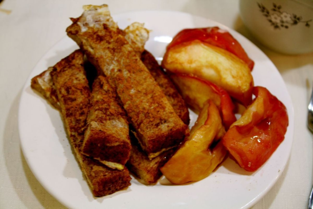French Toast Sticks with Roasted Apples - Fletcher and the Falling Leaves - Off the Shelf
