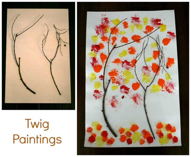 Twig Painting using red, orange, yellow paints and twigs on white paper.